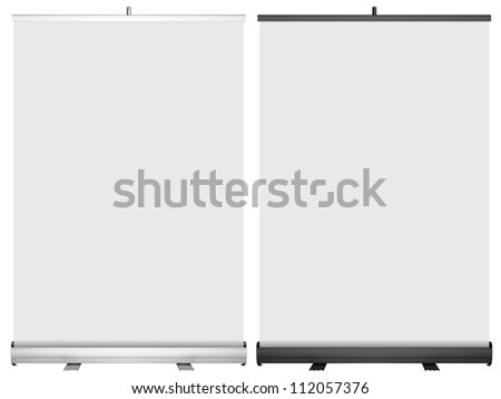 Roll up banner stand. Silver and black color. - stock photo