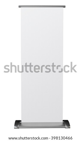 Roll up blank banner isolated on white background. 3D rendering
