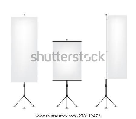 Roll up flag banner and projection screen - stock photo
