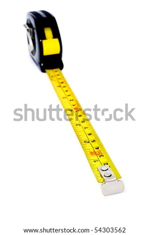 roll-up tape measure isolated on a white background - stock photo