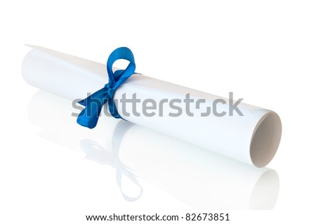 roll white paper with blue tape - stock photo