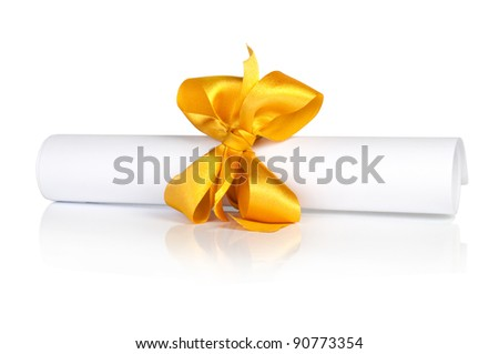 roll white paper with golden tape - stock photo