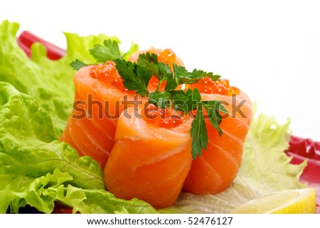 roll with salmon and red caviar - tradition japan - stock photo