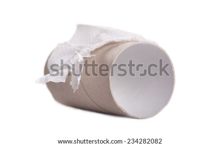 roll with spent toilet paper isolated - stock photo