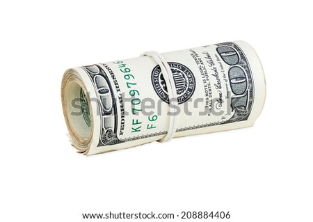 Rolled banknotes of 100 dollars isolated on white background with clipping path