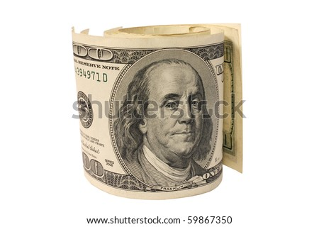 Rolled dollar banknotes closeup isolated on white background