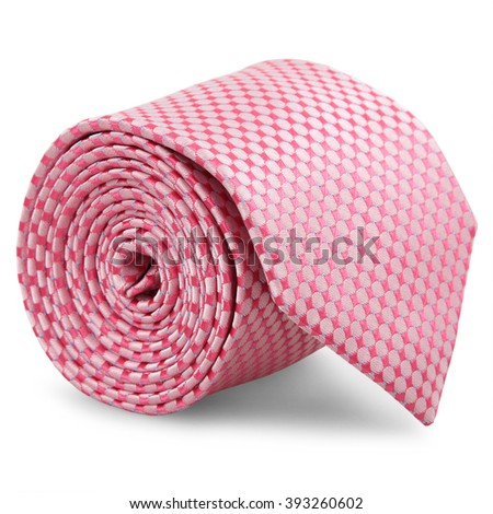 Rolled luxury tie on white background - stock photo