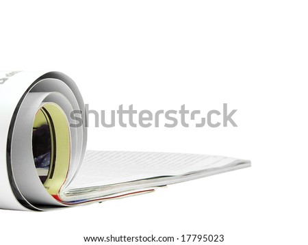 Rolled magazine isolated over white background - stock photo