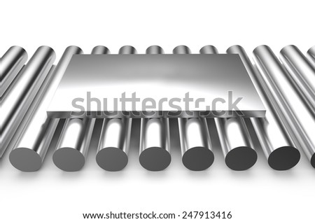 rolled metal, sheet on rounds isolated on white background - stock photo