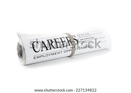 Rolled Newspaper isolated on white for Careers - stock photo
