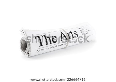 Rolled Newspaper isolated on white for the arts - stock photo