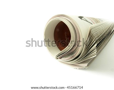 Rolled newspaper, seen in profile on a white background - stock photo