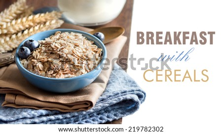 Rolled oats in a blue bowl with berries and milk - stock photo