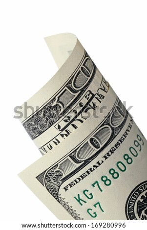 Rolled of one hundred dollar bill isolated on white background - stock photo