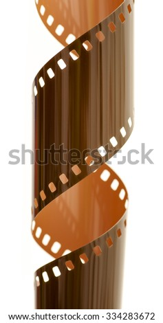 Rolled undeveloped film strip, vertical. - stock photo