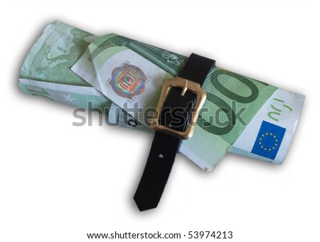 Rolled up banknotes on white - stock photo