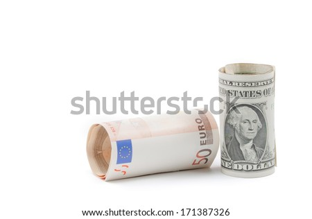 rolled up euro and rolled up dollars banknote on white background with space for text, concept for business and save money - stock photo