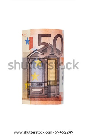 Rolled up fifty euro isolated on white Background - stock photo