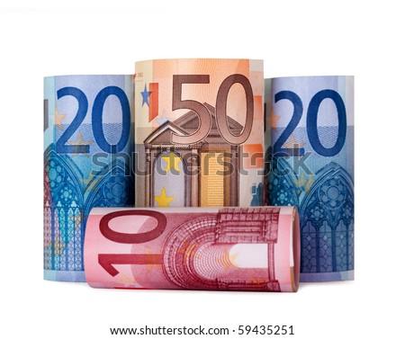 Rolled up hundred euro isolated on white Background - stock photo