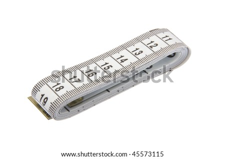 Rolled up measuring tape on white background