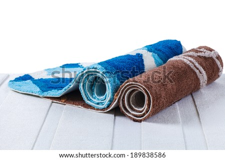 rolled up of colorful carpets - stock photo