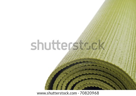 Rolled Yoga Mat Border Background with Copy Space - stock photo