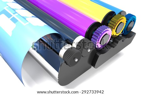 Roller block of color printer is on a white background. - stock photo