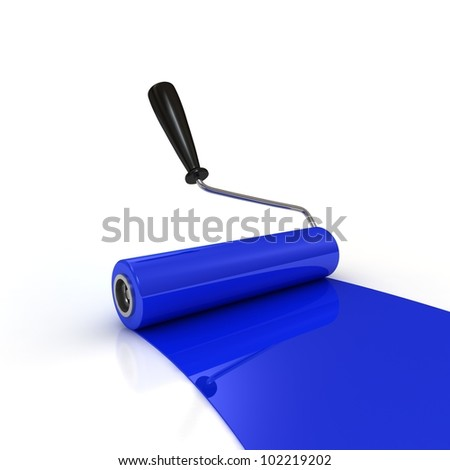 Roller brush with blue paint. 3 D Image - stock photo