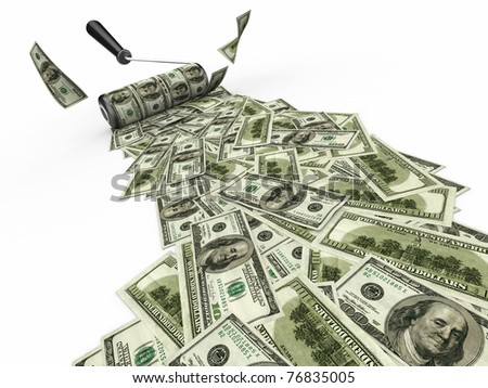 Roller brush with dollar on white isolated background. 3d - stock photo
