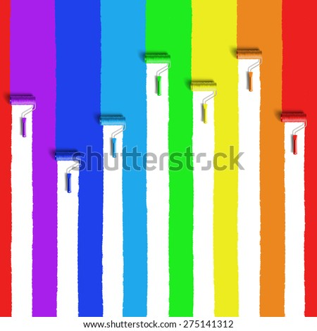 roller brush with rainbow colors paint - stock photo