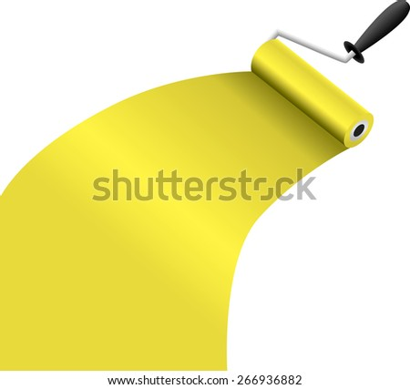 roller brush with yellow paint illustration raster version
