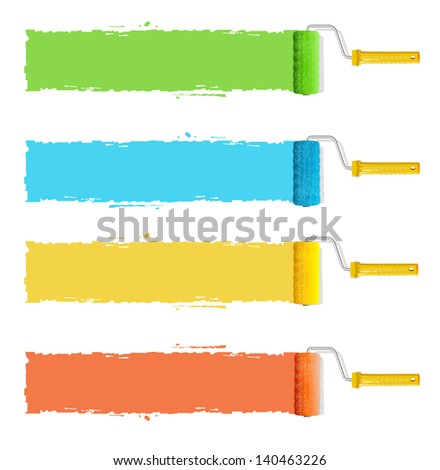 Roller brushes with colors paint for text - stock photo