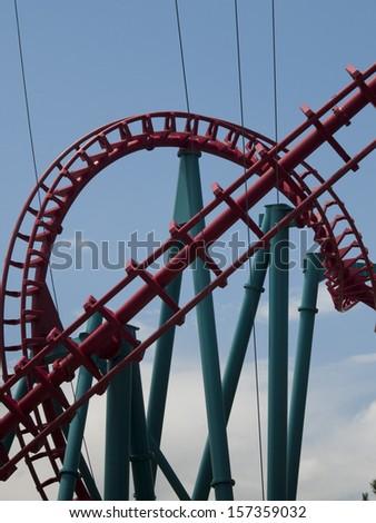 Roller coaster at the Elitch Gardens Theme Park in Denver, Colorado. - stock photo