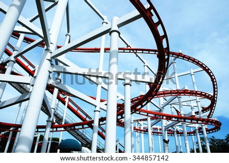roller Coaster in the amusement park - stock photo