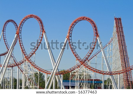 Roller Coaster Loops - stock photo