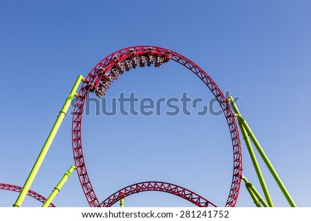 roller coaster people - stock photo