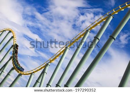 Roller coaster rail on sunny day  - stock photo