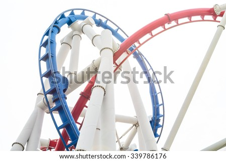 Roller coaster rail ride in the park - stock photo