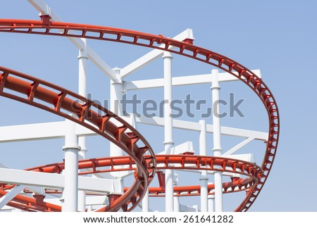 Roller coaster steel structure track.  - stock photo