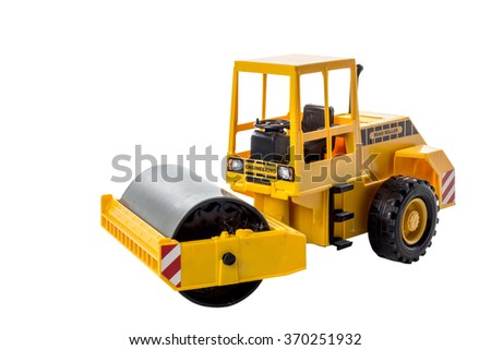 roller engineering vehicle compact soil construction machinery toy isolated on white background with clipping path - stock photo