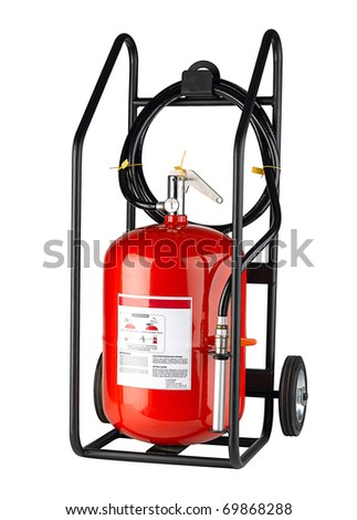 Roller fire extinguisher tank for fire protection isolated on white