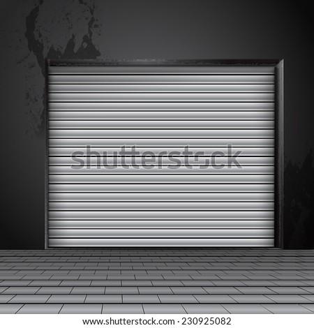 roller shutter door - stock photo