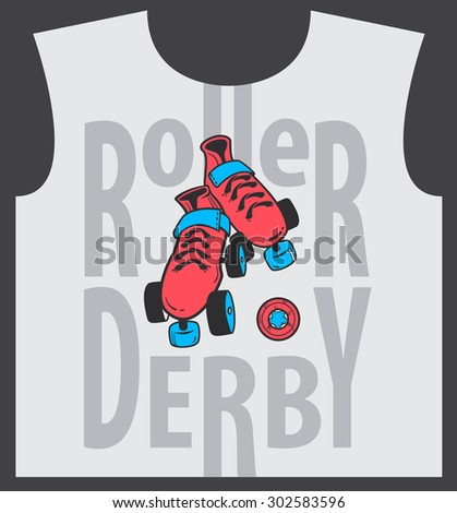 Roller skate and roller derby graphic design for t-shirt - stock photo