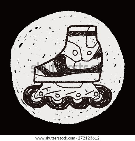 Roller skate doodle - stock photo