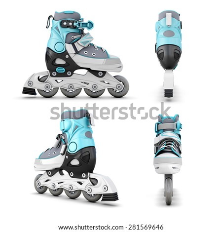 Roller skate from different angles isolated on white background. 3d illustration. - stock photo