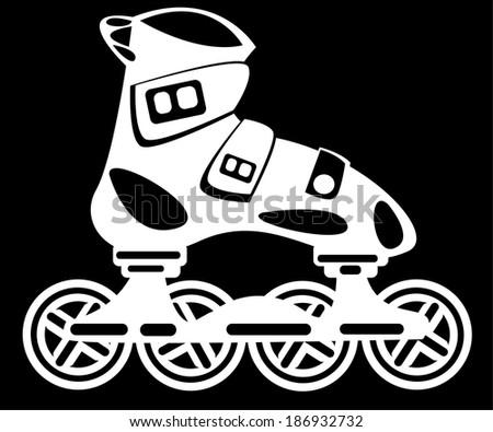 roller skate on black background - stock photo