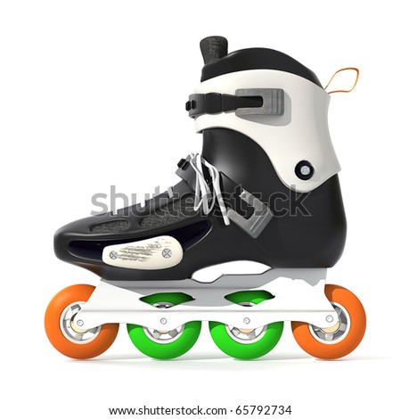 Roller Skates Black with white accents on a white background - stock photo
