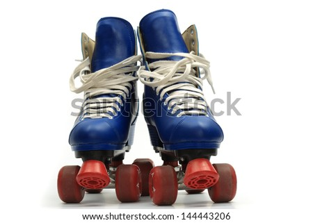 Roller skates, isolated on white - stock photo
