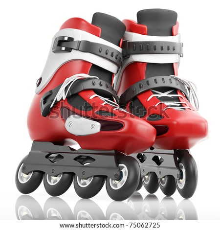 Roller Skates Red with white accents. Isolated on a white background - stock photo