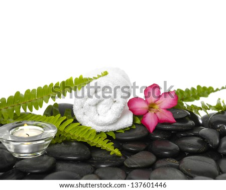 roller towel with green fern and frangipani flower on pebbles  - stock photo